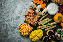 Halloween Party Food - Selection Of Halloween Style Appetizers On Rustic Background