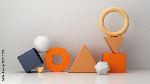 Fototapeta Minimal scene with geometrical forms in blue abstract background. Set of Geometric shapes in chaotic composition. Autumn colors scene. Abstract minimal concept, blank space, clean design, 3d render. obraz