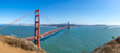 Panoramic view of Golden Gate Bridge in San Francisco, California.