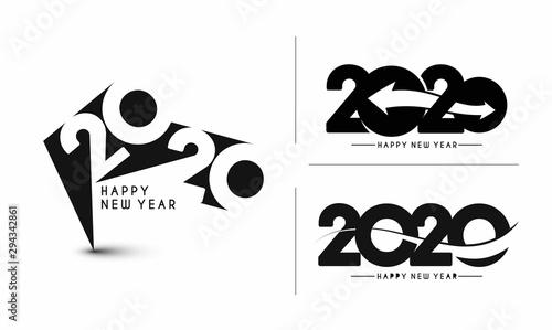 Valokuvatapetti Happy New Year 2020 Text Typography Design Set - Vector illustration