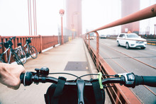 View From A Bicycle On Golden Gate Bridge In San Francisco.