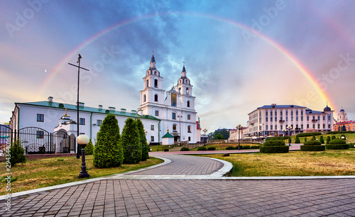 Fotomural  Belarus - Minsk with Orthodox Cathedral with rainbow