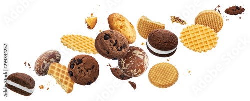Falling cakes, cookies, crackers, waffles isolated on white background Canvas Print