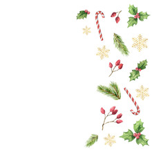 Watercolor Vector Christmas Card With Green Leaves, Red Berries And Golden Snowflakes.