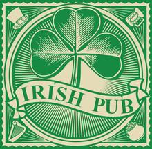 Irish Pub Label Design With Three Leaf Clover