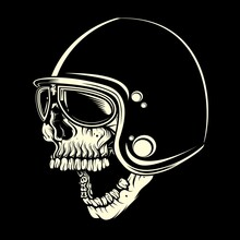 Skull With Helmet Cafe Racer Hand Drawing Vector