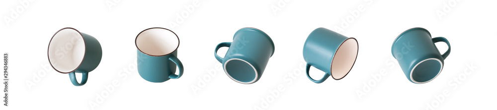 Fototapeta Empty ceramic (looks like enameled) gray-turquoise and ivory mug from different angles, a set of types. Isolated object on a white background.