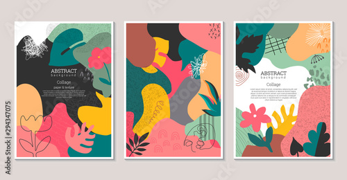 Set of vector modern artistic posters with hand drawn textures, plants, leaves and cut out paper shapes.
