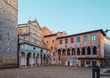 Pistoia Tuscany Italy main square piazza duomo with cathedral and old bishops palace
