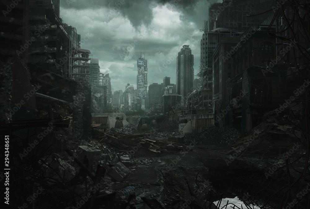 Fototapeta Ruined Cityscape