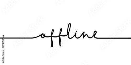 Obraz Offline - continuous one black line with word. Minimalistic drawing of phrase illustration - fototapety do salonu
