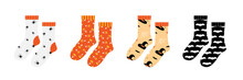 Pair Of Socks Set, Collection With Halloween Patterns, Ornaments Isolated On White Background.