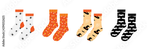 Pair of socks set, collection with halloween patterns, ornaments isolated on white background Tapéta, Fotótapéta