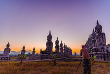 Big Buddha Stature With Color Of Sky Twilight, Public In Thailand