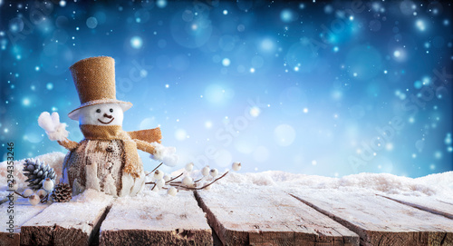 Christmas Card - Winter Incoming - Snowman On Table Wallpaper Mural