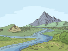 Mountain River Graphic Color L...