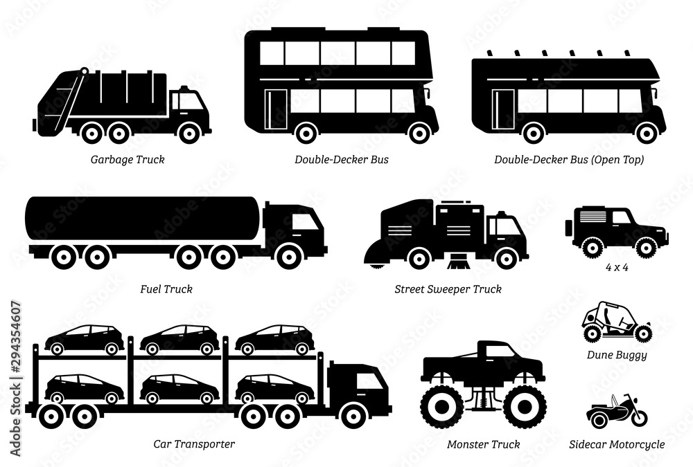 Fototapeta List of special purpose vehicles icon set. Side view artwork of garbage truck, double decker bus, fuel truck, street sweeper, 4wd, car transporter, monster truck, dune buggy, and sidecar motorcycle.
