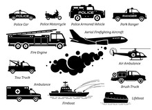 List Of Emergency Response Vehicles Icon Set. Artwork Depicts Police Car, Police Motorcycle, Armored Vehicle,  Fire Engine, Ambulance, Lifeboat, Helicopter, Tow Truck And Aerial Firefighting Aircraft.