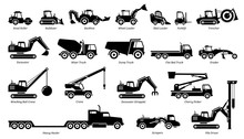 List Of Construction Vehicles, Tractors, And Heavy Machinery Icons. Sideview Artwork Of Construction And Industrial Vehicles, Road Roller, Bulldozer, Backhoe, Excavator, Dump Truck, And Crane.