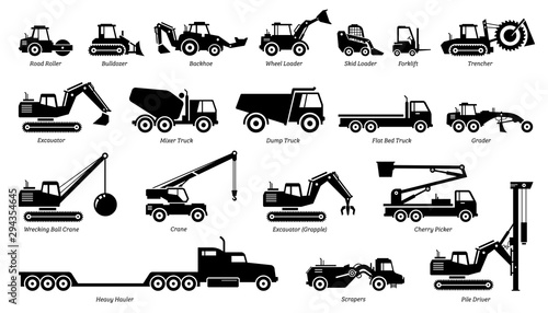 List of construction vehicles, tractors, and heavy machinery icons фототапет
