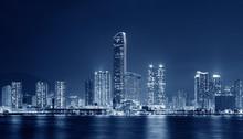 Panorama Of Skyline Of Hong Kong City At Night
