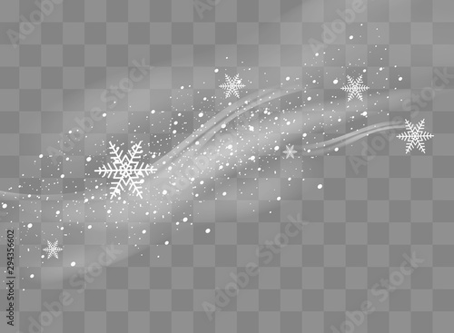 Obraz Snow and wind on a transparent background. White gradient decorative element.vector illustration. winter and snow with fog. wind and fog. - fototapety do salonu
