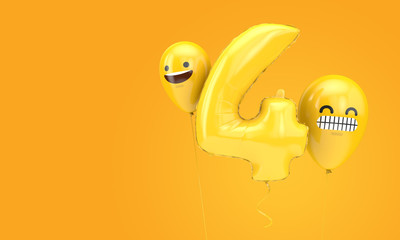 Number 4 birthday ballloon with emoji faces balloons. 3D Render