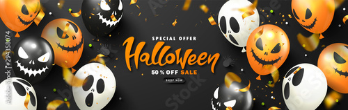 Fotografia Halloween Sale Promotion Poster with scary balloons,spiders, candy and flying serpentine