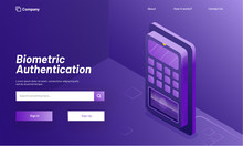 Biometric Authentication Concept, Login Or Sign Up Page With Isometric Illustration Of Biometric Machine Or Fingerprint Scanner On Shiny Purple Background.