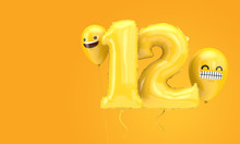Number 12 Birthday Ballloon With Emoji Faces Balloons. 3D Render