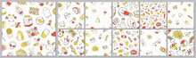 Set Of Seamless Pattern With Patch Doodles