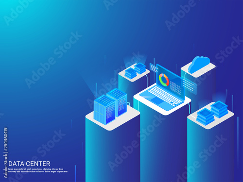 Isometric illustration of laptop connected with four different servers and analysis the data for data center web template design Canvas Print