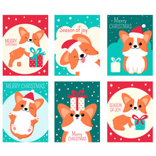 Set Of Christmas Gift Tag, Card, Badge, Sticker With Cute Corgi