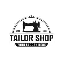 Old Sewing Machine For Vintage Tailor Shop, Tailor Logo Design