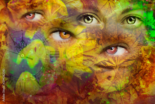 Female eyes ,leaves and time Fototapet