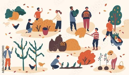 Canvas Print Autumn season harvest gathering flat vector illustration