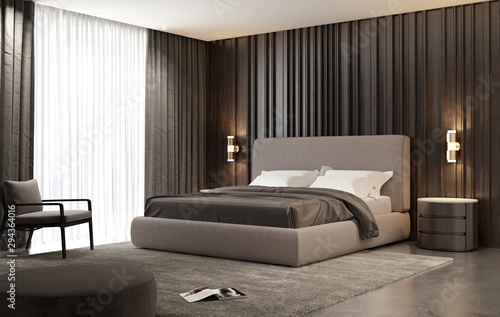 Cuadros en Lienzo Title: Contemporary luxury modern beige bedroom with stool and a modern carpet