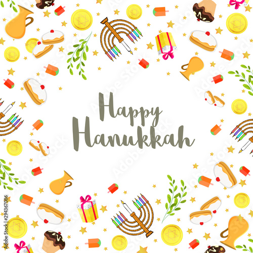 Happy Hanukkah festival background with decorated with food elements and candelabra for Jewish Holiday celebration Canvas Print
