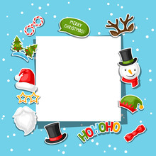 Merry Christmas Card With Photo Booth Stickers.