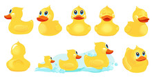 Yellow Bath Duck. Rubber Water Toys For Kids Shower Room Games With Duck Vector Cute Characters. Yellow Bath Duck, Water Animal Toy Illustration