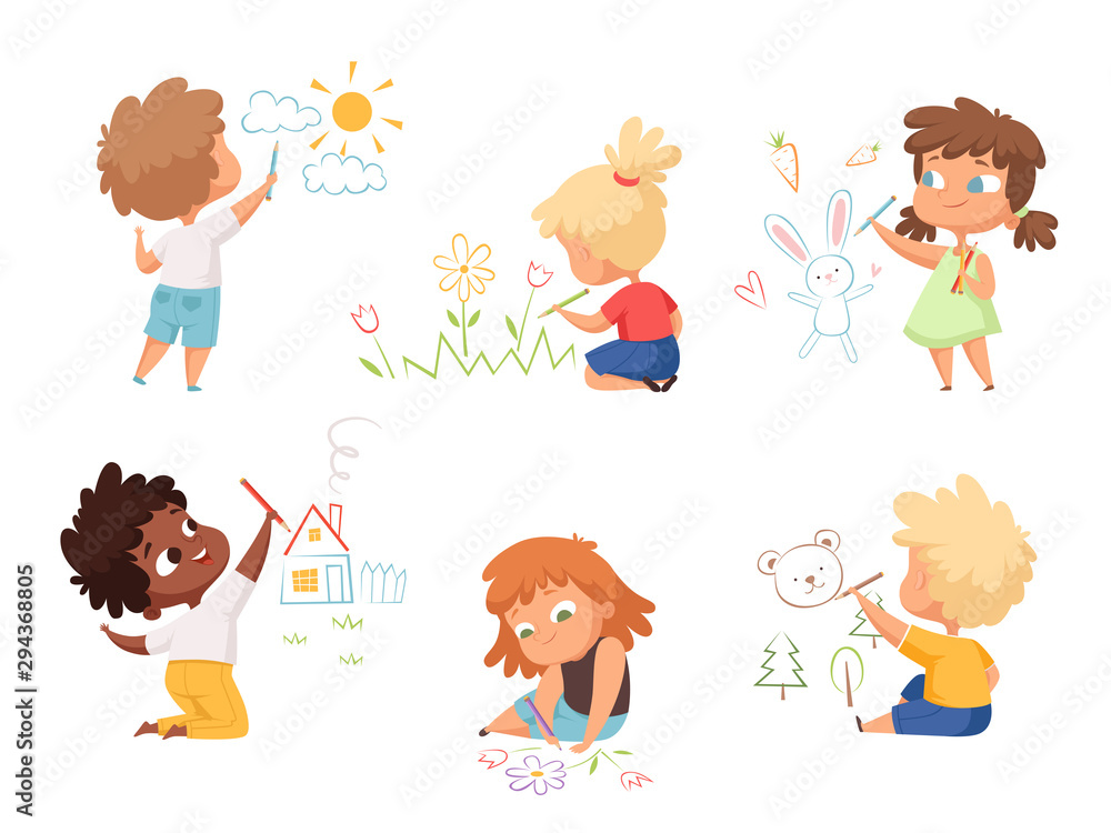 Fototapeta Kids drawing. Children artists educational funny cute childrens boys and girls making different pictures vector characters. Illustration child artist drawing colorful