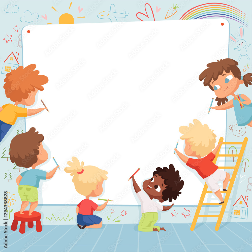 Fototapeta Kids frame. Cute characters childrens painting drawing and playing empty place for text vector template. Kids drawing on white banner, characters preschool painter illustration