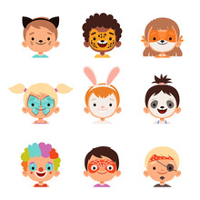 Face Painting Avatars. Kids Happy Portraits Creative Makeup Drawings Vector Collection. Makeup Face, Cartoon Girl And Boy Disguise In Mask Illustration