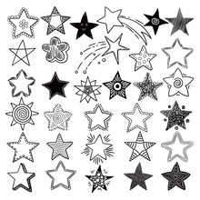 Stars. Space Symbols Planets Elements Hand Drawn Collection Space Stars Vector Doodle Pictures. Sstar And Celestial Sketch Asterisk Illustration