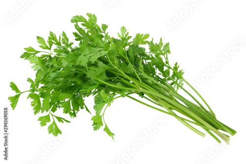 Cuadros en Lienzo green fresh parsley isolated on white background. parsley bunch