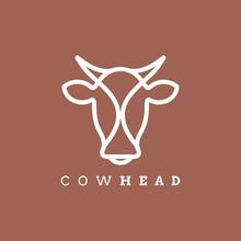 Cow Head Line Outline Monoline...