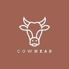 Cow Head Line Outline Monoline Icon Graphic Silhouette Emblem Logo Label. Vector Illustration.