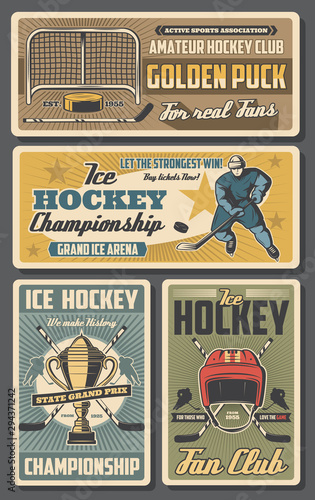Ice hockey players, sticks, pucks and trophy cup Canvas Print