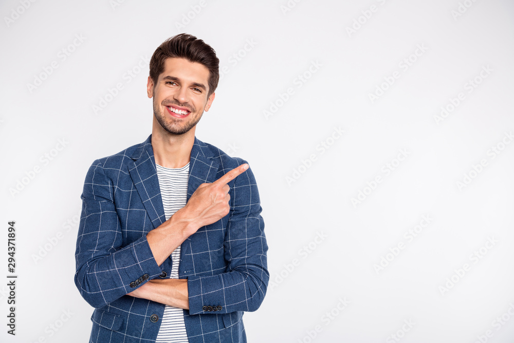 Fototapeta Portrait of his he nice attractive cheerful cheery successful businessman agent broker assistant wearing checked blazer showing copy space isolated over light white pastel background