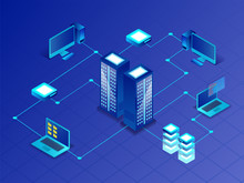 3D Illustration Of Main Server Connected With Computer, Laptop And Mini Servers For Data Management Concept.